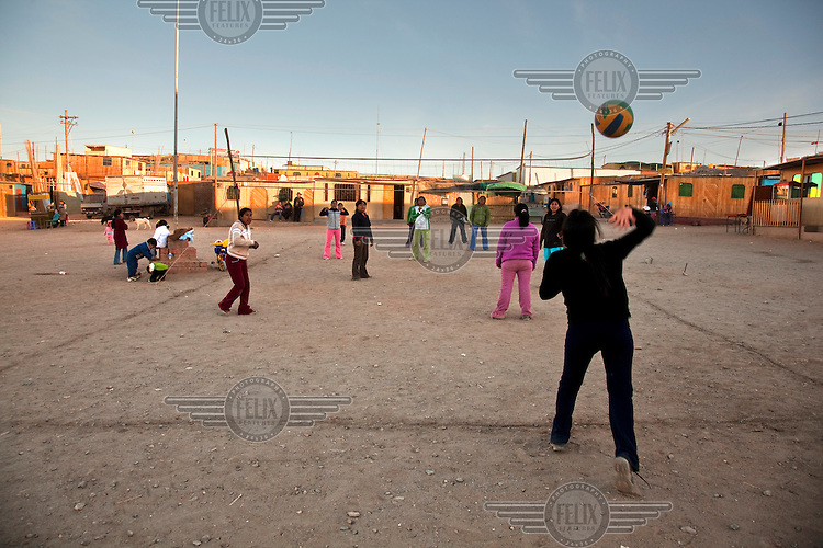 Children play with a ball in the village of Santa Filomena in the department of Ayacucho.