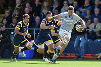 Matt Banahan of Bath Rugby goes on the attack. Aviva Premiership match, between Worcester Warriors and Bath Rugby on April 15, 2017 at Sixways Stadium in Worcester, England. Photo by: Patrick Khachfe / Onside Images