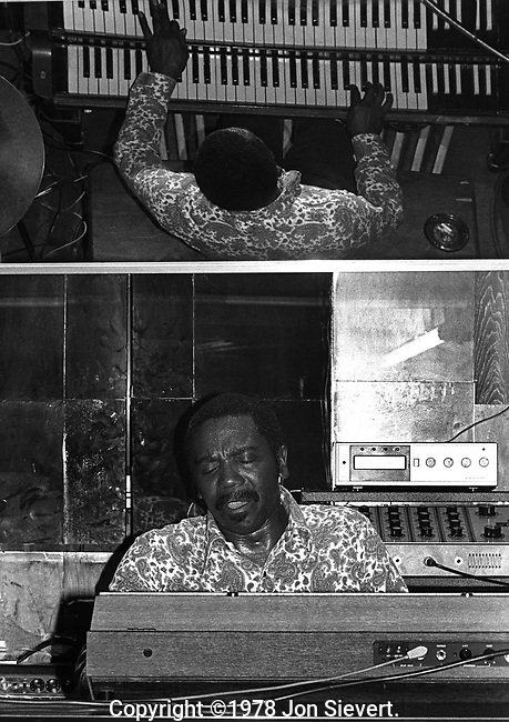 Jimmy Smith, Nov 1977 at his club in Los Angeles. American jazz musician whose performances on the Hammond B-3 electric organ helped to popularize this instrument. In 2005, Smith was awarded the NEA Jazz Masters Award from the National Endowment for the Arts, the highest honors that the United States bestows upon jazz musicians.
