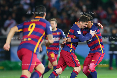 (L-R) Luis Suarez, Lionel Messi, Neymar (Barcelona), <br /> DECEMBER 20, 2015 - Football / Soccer : <br /> FIFA Club World Cup Japan 2015 <br /> Final match between River Plate 0-3 Barcelona  <br /> at Yokohama International Stadium in Kanagawa, Japan.<br /> (Photo by Yohei Osada/AFLO SPORT)