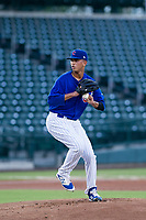 AZL Cubs starting pitcher Brailyn Marquez (58) delivers a pitch to the plate against the AZL Giants on July 17, 2017 at Sloan Park in Mesa, Arizona. AZL Giants defeated the AZL Cubs 12-7. (Zachary Lucy/Four Seam Images)