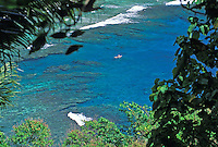Canoe near reef. Vatia, Tutuila, American Samoa