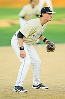 Wake Forest Demon Deacons third baseman Joe Napolitano #12 on defense against the UNC-Asheville Bulldogs at Wake Forest Baseball Park on February 28, 2012 in Winston-Salem, North Carolina.  The Demon Deacons defeated the Bulldogs 9-8.  (Brian Westerholt/Four Seam Images)