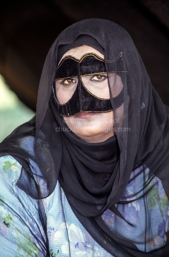 Oman.  Woman Wearing a Burqa (Face Mask).