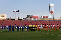 Frisco, TX - Sunday September 03, 2017: National Anthem prior to a regular season National Women's Soccer League (NWSL) match between the Houston Dash and the Seattle Reign FC at Toyota Stadium in Frisco Texas. The match was moved to Toyota Stadium in Frisco Texas due to Hurricane Harvey hitting Houston Texas.