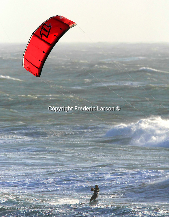 Kite surfing off Ocean Beach in San Francisco, California.