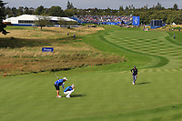 Suzann Pettersen (EUR) and Marina Alex (USA) on the 1st green during Day 3 Singles at the Solheim Cup 2019, Gleneagles Golf CLub, Auchterarder, Perthshire, Scotland. 15/09/2019.<br /> Picture Thos Caffrey / Golffile.ie<br /> <br /> All photo usage must carry mandatory copyright credit (© Golffile | Thos Caffrey)