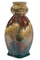 BNPS.co.uk (01202 558833)<br /> Pic: Duke's/BNPS<br /> <br /> A large Den Haag Earthenware Glazed Vase <br /> <br /> A collection of pottery that belonged to late Blue Peter presenter John Noakes is being sold by his widow for around £10,000.<br /> <br /> The 29 pieces of Rozenburg porcelain were collected by the 1970s TV star right up until his death, three years ago in 2017.<br /> <br /> Since then they have been in the ownership of his wife Vicky who has now decided the time is right to put them on the market.