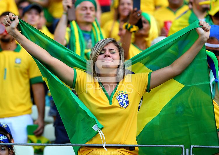 A nervous looking Brazil fan before kick off