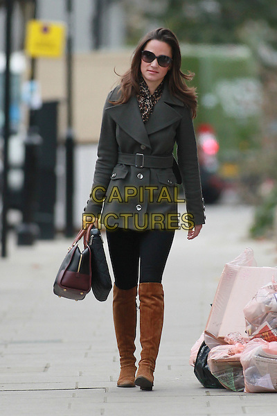 Pippa Middleton arrives for work, London, England..November 28th, 2011.full length sunglasses shades grey gray jacket black leggings brown suede boots knee high bag purse.CAP/HIL.©John Hillcoat/Capital Pictures .