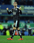 Christian Fuchs of Leicester City celebrates at the end of the game towards the Leicester City fans<br /> - Barclays Premier League - Everton vs Leicester City - Goodison Park - Liverpool - England - 19th December 2015 - Pic Robin Parker/Sportimage