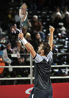BOGOTA- COLOMBIA 24-07-2015 Michael Berrer de Alemania, celebra la victoria sobre Victor Estrella de Republica Dominicana,  durante partido del Claro Open Colombia de Tenis en las canchas del Centro de Alto rendimiento en Altura en la ciudad de Bogota.   / Michael Berrer of  Germany celebrates the victory against Victor Estrella de Republica Dominicana, during a match to the Claro Open Colombia of Tennis in the courts of the High Performance Center in Altura in Bobota City. Photo: VizzorImage / Luis Ramirez / Staff.