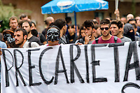 Napoli 2 Ottobre 2014<br /> Manifestazione della Rete dei Movimenti campani contro  il vertice della Bce nei pressi della Reggia di Capodimonte, sede della riunione. I manifestanti con le maschere di pulcinella.<br /> Naples October 2, 2014 <br /> Manifestation of the Network of Movements of Campania against the summit of the ECB in the vicinity of the Palace of Capodimonte, the venue of the meeting . The protesters with masks pulcinella.