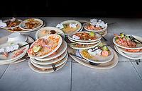 Dirty platesRestaurant Mariscos Kika in the small fishing village of Mexcaltitan, Nayarit, Mexico