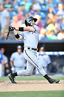 Kannapolis Intimidators center fielder Luis Gonzalez (10) swings at a pitch during a game against the Kannapolis Intimidators at McCormick Field on May 12, 2018 in Asheville, North Carolina. The Intimidators defeated the Tourists 11-8. (Tony Farlow/Four Seam Images)