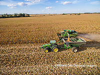 63801-08207 Corn Harvest, John Deere combine unloading corn into grain cart while harvesting - aerial Marion Co. IL