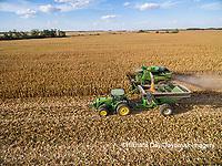 63801-08207 Corn Harvest, John Deere combine unloading corn into grain cart while harvesting - aerial Marion Co. IL