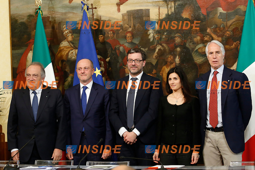 President of BNL Bank Luigi Abete, President of Italian Tennis Federation Angelo Binaghi, Undersecretary Giancarlo Georgetti, Mayor of Rome Virginia Raggi and President of CONI Giovanni Malago'.<br /> Rome April 11th 2019. Palazzo Chigi. Presentation of the 76° edition of International BNL of Italy tennis tournament.<br /> photo di Samantha Zucchi/Insidefoto