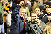 3rd November 2017, Molineux, Wolverhampton, England; EFL Championship football, Wolverhampton Wanderers versus Fulham; Wolverhampton Wanderers fans celebrating their team winning 2-0