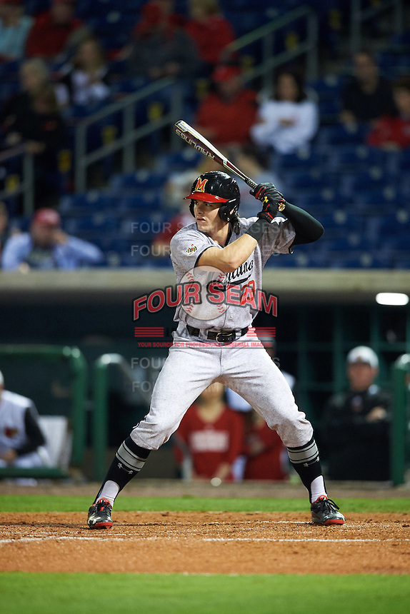 Maryland Terrapins left fielder Madison Nickens (23) at bat during a game against the Louisville Cardinals on February 18, 2017 at Spectrum Field in Clearwater, Florida.  Louisville defeated Maryland 10-7.  (Mike Janes/Four Seam Images)