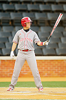 Logan Ratledge (6) of the North Carolina State Wolfpack at bat against the Wake Forest Demon Deacons at Wake Forest Baseball Park on March 15, 2013 in Winston-Salem, North Carolina.  The Wolfpack defeated the Demon Deacons 12-6.  (Brian Westerholt/Four Seam Images)