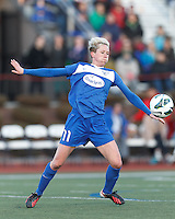 Boston Breakers midfielder Joanna Lohman (11) chest trap.  In a National Women's Soccer League Elite (NWSL) match, the Boston Breakers (blue) tied the Washington Spirit (white), 1-1, at Dilboy Stadium on April 14, 2012.