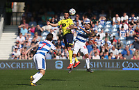 Blackburn Rovers' Derrick Williams and Queens Park Rangers' Nahki Wells<br /> <br /> Photographer Rob Newell/CameraSport<br /> <br /> The EFL Sky Bet Championship - Queens Park Rangers v Blackburn Rovers - Friday 19th April 2019 - Loftus Road - London<br /> <br /> World Copyright © 2019 CameraSport. All rights reserved. 43 Linden Ave. Countesthorpe. Leicester. England. LE8 5PG - Tel: +44 (0) 116 277 4147 - admin@camerasport.com - www.camerasport.com