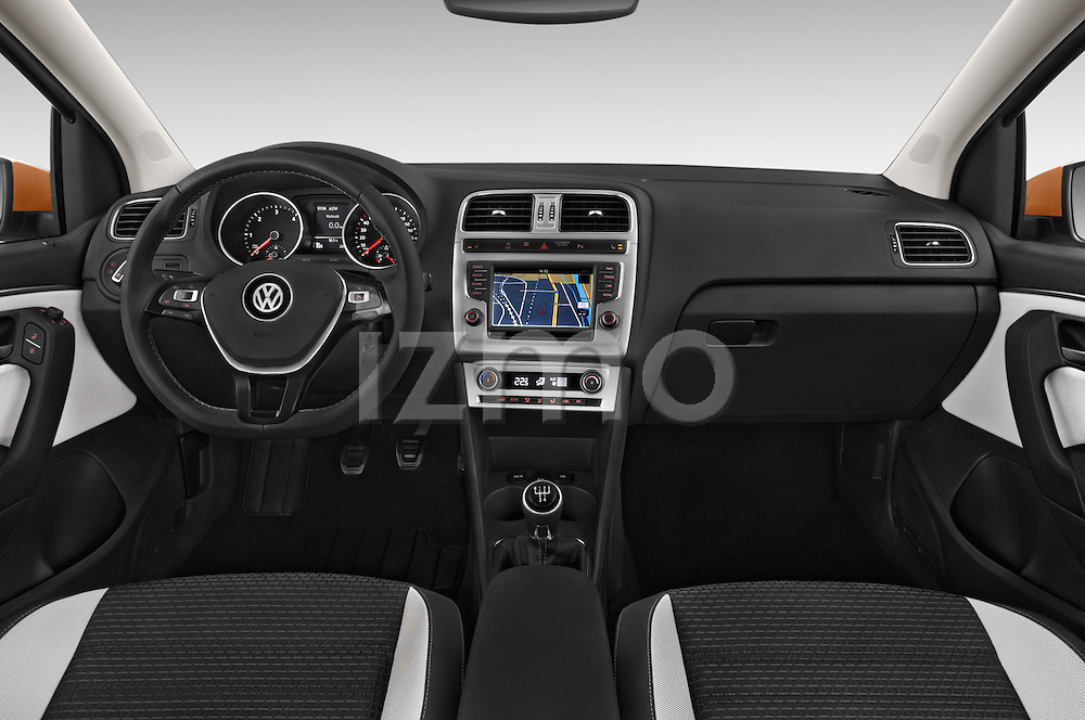 Stock photo of straight dashboard view of a 2015 Volkswagen Polo Cross 5 Door Hatchback 2WD Dashboard