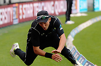 Trent Boult is beaten on the boundary during the One Day International between the New Zealand Black Caps and England at the Westpac Stadium in Wellington, New Zealand on Friday, 2 March 2018. Photo: Dave Lintott / lintottphoto.co.nz