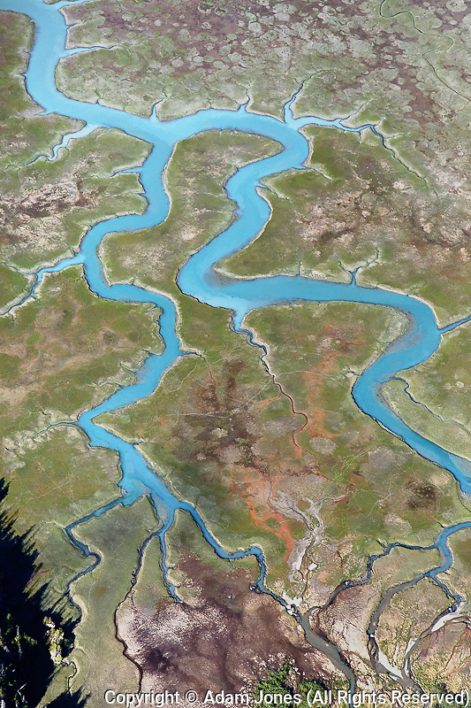Aerial view of serpentine river system, Alaska
