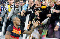 Galatasaray's defender Felipe Melo greets Juventus supporters before the start of the match<br /> Torino 02-10-2013 Juventus Stadium<br /> UEFA Champions League 2013/2014<br /> Football Calcio Juventus vs Galatasaray<br /> Foto Insidefoto Giorgio Perottino