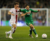 29th March 2015; UEFA EURO 2016 Championship Qualifier Group D, Ireland vs Poland, Aviva Stadium, Dublin<br /> Republic of Ireland's Wesley Hoolahan with Maciej Rybus of Poland.<br /> Picture credit: Tommy Grealy/actionshots.ie.