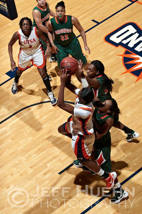 SAN ANTONIO, TX - DECEMBER 21, 2011: The University of Texas-Pan American Broncos vs. The University of Texas at San Antonio Roadrunners Women's Basketball at the UTSA Convocation Center. (Photo by Jeff Huehn)