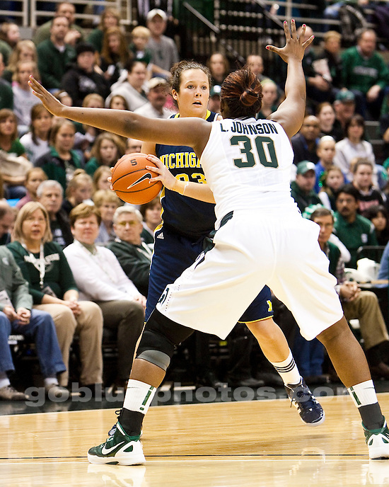 The University of Michigan women's basketball team lost 60-55 to Michigan State University at the Breslin Center in East Lansing, Mich., on January 4, 2012.