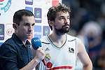 Real Madrid's Sergio Llull with TVE host during the first match of the playoff at Barclaycard Center in Madrid. May 27, 2016. (ALTERPHOTOS/BorjaB.Hojas)