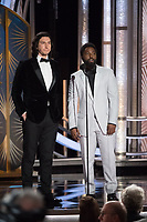 Presenters Adam Driver and John David Washington onstage during the 76th Annual Golden Globe Awards at the Beverly Hilton in Beverly Hills, CA on Sunday, January 6, 2019.<br /> *Editorial Use Only*<br /> CAP/PLF/HFPA<br /> Image supplied by Capital Pictures