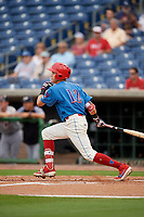 Clearwater Threshers Simon Muzziotti (12) at bat during a Florida State League game against the Lakeland Flying Tigers on May 14, 2019 at Spectrum Field in Clearwater, Florida.  Clearwater defeated Lakeland 6-3.  (Mike Janes/Four Seam Images)