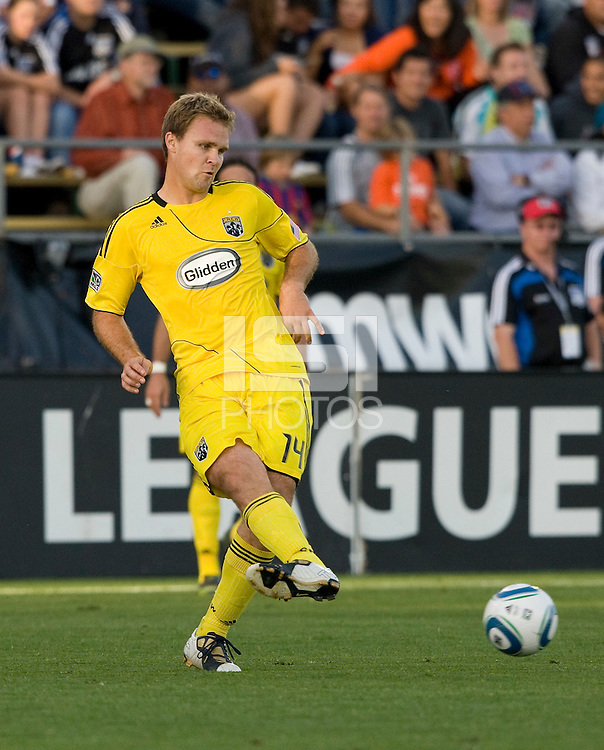 Chad Marshall of the Crew in action during the game against the Earthquakes at Buck Shaw Stadium in Santa Clara, California on June 2nd, 2010.  San Jose Earthquakes tied Columbus Crew, 2-2.