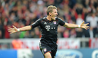 19.09.2012. Munich, Germany.  Munichs Bastian Schweinsteiger celebrates his goal during the UEFA Champions League group F soccer match between Bayern Munich and Valencia CF at the football  Arena M in Munich, Germany, 19 September 2012.