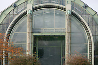 Tropical Rainforest Glasshouse (formerly Le Jardin d'Hiver or Winter Gardens), 1936, René Berger, Jardin des Plantes, Museum National d'Histoire Naturelle, Paris, France. View from the front of the main Art Deco style entrance in the Facade consisting of pillars in luminescent glass paste by Auguste Labouret and wrought iron decoration made by Raymond Subes.