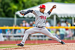 25 July 2017: Tri-City ValleyCats pitcher Carlos Hiraldo on the mound against the Vermont Lake Monsters at Centennial Field in Burlington, Vermont. The Lake Monsters defeated the ValleyCats 11-3 in NY Penn League action. Mandatory Credit: Ed Wolfstein Photo *** RAW (NEF) Image File Available ***