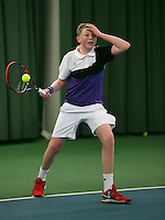 Rotterdam, The Netherlands, 15.03.2014. NOJK 14 and 18 years ,National Indoor Juniors Championships of 2014, Guy Stokman (NED)<br /> Photo:Tennisimages/Henk Koster