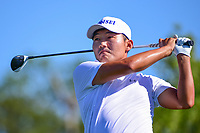 Sung Kang (USA) watches his tee shot on 18 during round 1 of the Shell Houston Open, Golf Club of Houston, Houston, Texas, USA. 3/30/2017.<br /> Picture: Golffile   Ken Murray<br /> <br /> <br /> All photo usage must carry mandatory copyright credit (&copy; Golffile   Ken Murray)
