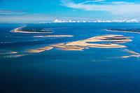 France, Gironde (33),Bassin d'Arcachon, le banc d'Arguin et   le Cap Ferret  vue aérienne //  France, Gironde, Bassin d'Arcachon, The Banc d'Arguin, Arguin bank, and  Cap Ferret