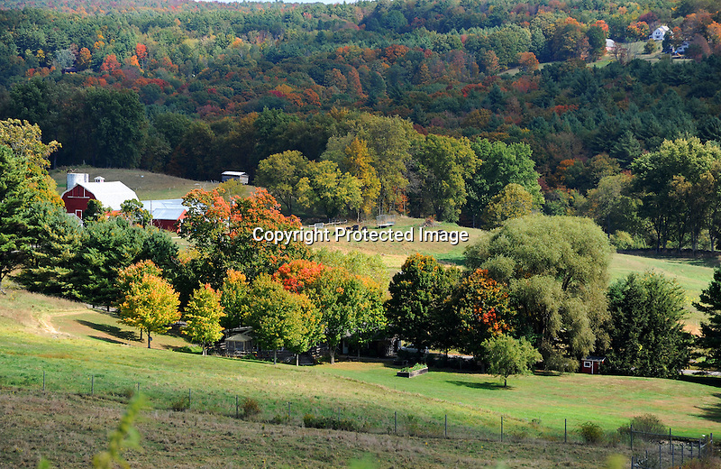 Farmstead and Surrounding Countryside during Fall Season in Walpole, New Hampshire USA