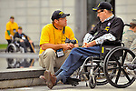 Guardian Robert Wentz with veteran James Clark at the Women In Military Service For America Memorial.   Honor Flight Tennessee Valley #9 trip to Washington, D.C.   Bob Gathany photo.