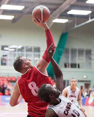 03.07.2016. Leicester Sports Arena, Leicester, England. Continental Clash Wheelchair Basketball, England versus Canada.  Simon Munn (GBR) attempts to shoot the basket