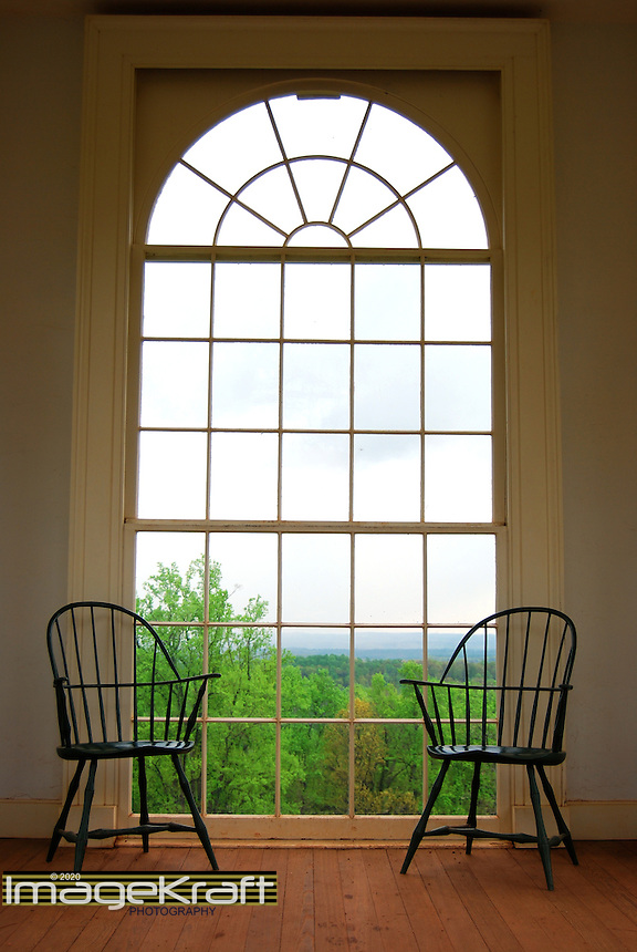 Jefferson colonial chairs and window overlooking Virginia mountains near Charlottesville, Virginia