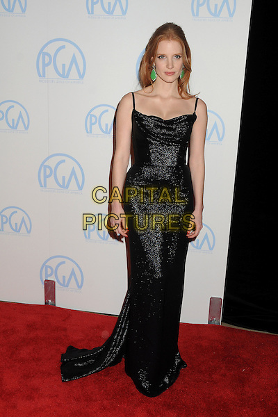 Jessica Chastain.23rd Annual Producers Guild Awards held at the Beverly Hilton Hotel, - Beverly Hills, California, USA, .21st January 2012..full length dress sleeveless black sparkly  straps long maxi .CAP/ADM/BP.©Byron Purvis/AdMedia/Capital Pictures.