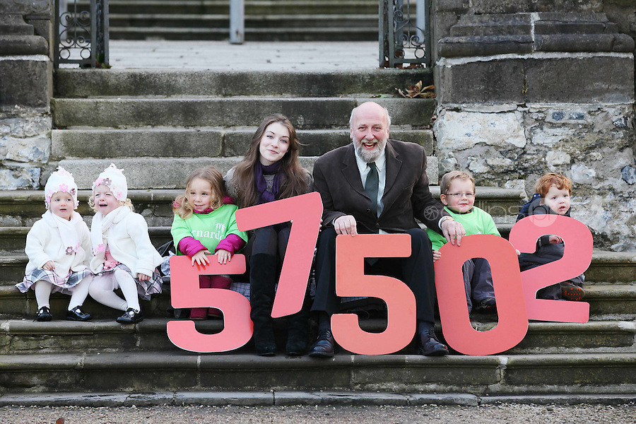 """NO REPRO FEE. 18/11/2010. METEOR CHRISTMAS TEXT APPEAL. Actress and Barnardos Ambassador Sarah Bolger and Barnardos CEO Fergus Finlay are pictured with 2 yr old twins Millie and Daisy Ryan, Alice Davies 3, Thomas Donoghue aged 3 and Rian Donoghue 4 in the grounds of IMMA to launch the Meteor Christmas text appeal to raise urgently needed funds for Barnardos this Christmas. Meteor customers can donate EUR2 with every cent going to the charity, by simply texting """"Barnardos"""" tp 57502. Picture James Horan/Collins Photos"""